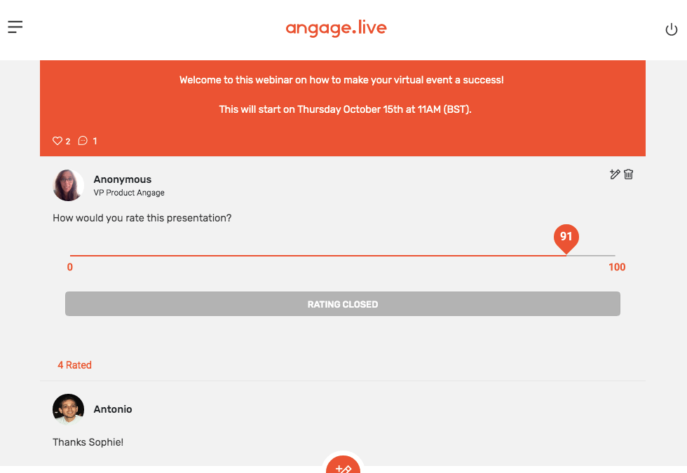 NEW on Angage.live : give a grade, embedding and more…